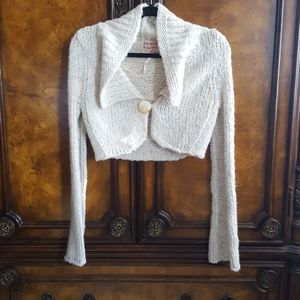 Free People Tan Cropped Knit Cardigan Sweater